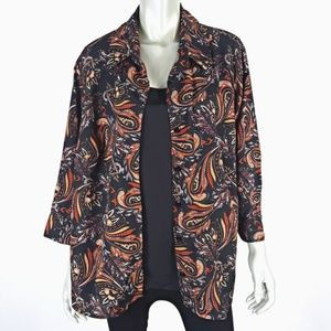 Notations Black Paisley 2Fer Career Top Size 3X